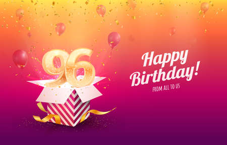 Celebrating 96th years birthday vector illustration. Ninety-six anniversary celebration background. Adult birth day. Open gift box with flying holiday numbers 矢量图像