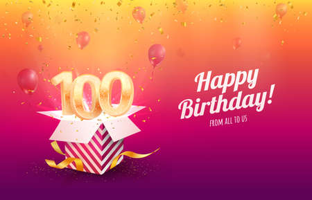 Celebrating 100th years birthday vector illustration. Hundred anniversary celebration background. Adult birth day. Open gift box with flying holiday numbers 矢量图像