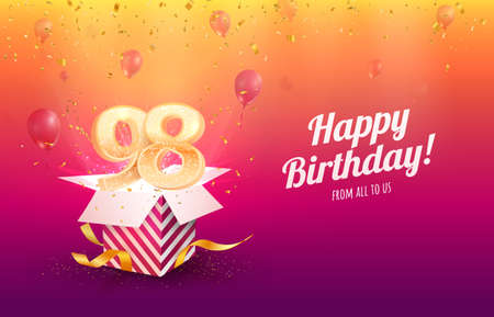 Celebrating 98th years birthday vector illustration. Ninety-eight anniversary celebration background. Adult birth day. Open gift box with flying holiday numbers