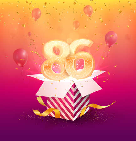 86th years anniversary vector design element. Isolated Eighty-six years jubilee with gift box, balloons and confetti on a colorful background. 矢量图像