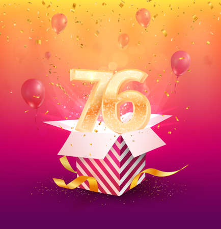 76th years anniversary vector design element. Isolated seventy-six years jubilee with gift box, balloons and confetti on a colorful background.