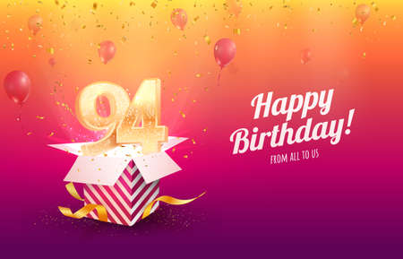 Celebrating 94th years birthday vector illustration. Ninety-four anniversary celebration background. Adult birth day. Open gift box with flying holiday numbers