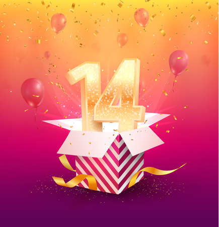 14 th years anniversary vector design element. Isolated forteen years jubilee with gift box, balloons and confetti on a bright background.