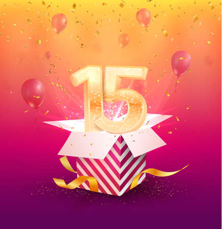 15 years anniversary vector banner template. Fifteen years jubilee with balloons and confetti on a bright background.