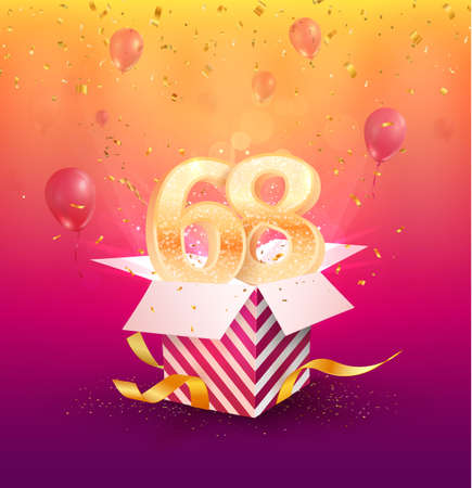 68th years anniversary vector design element. Isolated sixty-eight years jubilee with gift box, balloons and confetti on a colorful background. 矢量图像