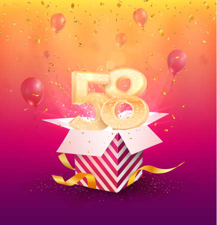 58th years anniversary vector design element. Isolated Fifty-eight years jubilee with gift box, balloons and confetti on a colorful background.