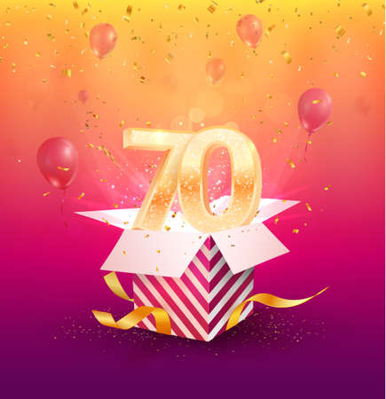 70th years anniversary vector design element. Isolated seventy years jubilee with gift box, balloons and confetti on a colorful background. 矢量图像