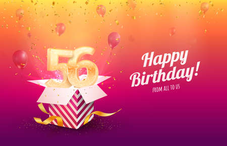 Celebrating 56th years birthday vector illustration. Fifty-six anniversary celebration background. Adult birth day. Open gift box with flying holiday numbers