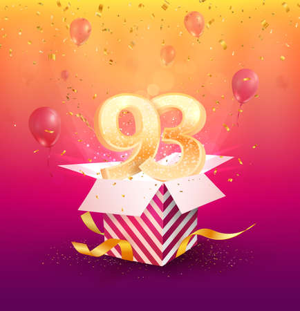 93rd years anniversary vector design element. Isolated ninety-three years jubilee with gift box, balloons and confetti on a colorful background.