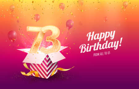 Celebrating 73th years birthday vector illustration. Seventy-three anniversary celebration background. Adult birth day. Open gift box with flying holiday numbers