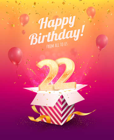 Celebrating 22 th years birthday vector illustration. Twenty two anniversary celebration invitation card. Adult birth day. Open gift box with flying numbers Illustration