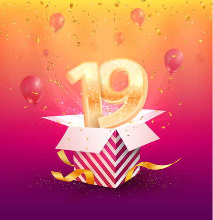 19 th years anniversary vector design element. Isolated nineteen years jubilee with gift box, balloons and confetti on a bright background. Illustration