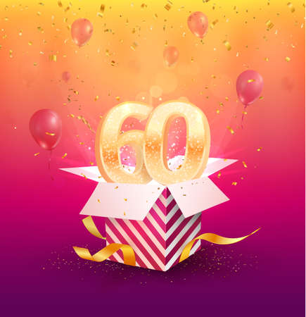 60th years anniversary vector design element. Isolated Sixty years jubilee with gift box, balloons and confetti on a colorful background.
