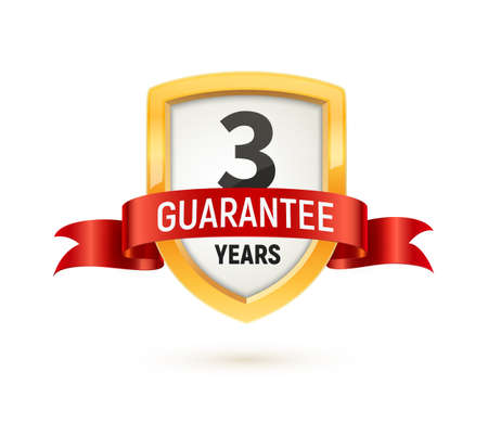 Guarantee 3 years isolated vector label on white background. Warranty service icon template