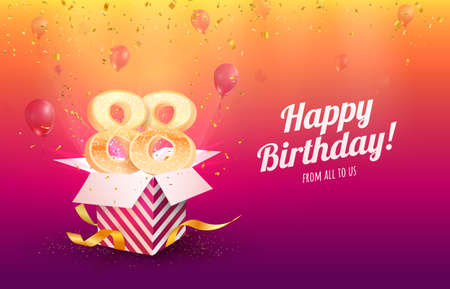 Celebrating 88th years birthday vector illustration. Eighty-eight anniversary celebration background. Adult birth day. Open gift box with flying holiday numbers