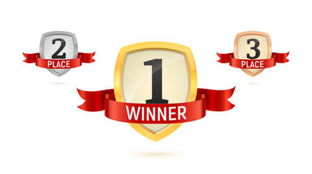 1, 2, 3 winner place isolated vector badges set. Collection of Win golden numbers on a shield with red ribbon isolated icons on white background