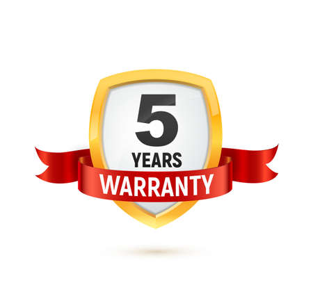 Warranty 5 years isolated vector label on white background. Guarantee service icon template