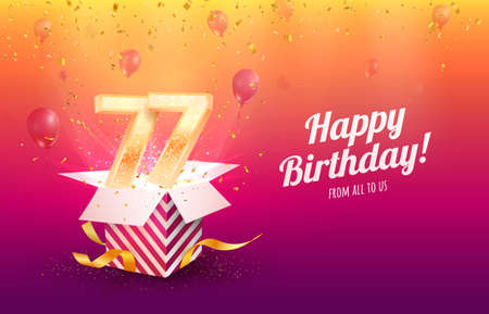 Celebrating 77th years birthday vector illustration. Seventy-seven anniversary celebration background. Adult birth day. Open gift box with flying holiday numbers