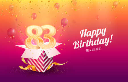 Celebrating 83th years birthday vector illustration. Eighty-three anniversary celebration background. Adult birth day. Open gift box with flying holiday numbers