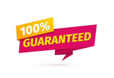 100 percent guaranteed satisfaction vector tag on white background. Assurance sticker paper style. Red warranty icon