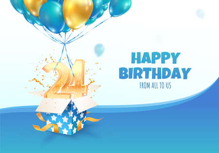 Celebrating of 24 th years birthday vector illustration. Fourteen anniversary celebration. Adult birthday. Open gift box with numbers two and four flying on balloons