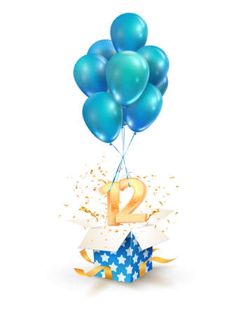 12th years celebrations. Greetings of twelve birthday isolated vector design elements. Open textured gift box with numbers and flying on balloons