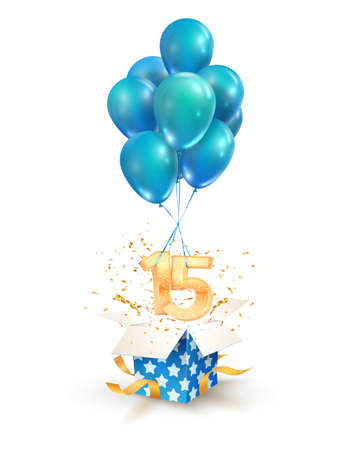 15th years celebrations. Greetings of fifteen birthday isolated vector design elements. Open textured gift box with numbers and flying on balloons Illustration