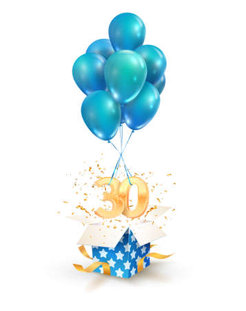 30th years celebrations. Greetings of thirty anniversary isolated vector design elements. Open textured gift box with numbers and flying on balloons.