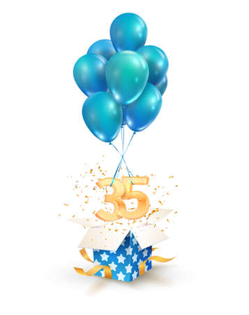 35th years celebrations. Greetings of thirty-five anniversary isolated vector design elements. Open textured gift box with numbers and flying on balloons.