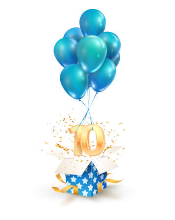 10th years celebrations. Greetings of ten anniversary isolated vector design elements. Open textured gift box with numbers and flying on balloons. Illustration