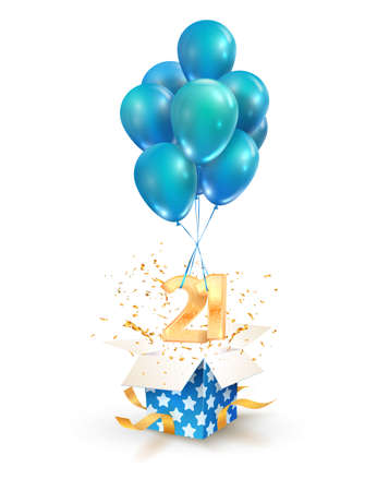 21th years celebrations. Greetings of twenty one anniversary isolated vector design elements. Open textured gift box with numbers and flying on balloons