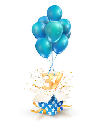 37th years celebrations. Greetings of thirty seven anniversary isolated vector design elements. Open textured gift box with numbers and flying on balloons
