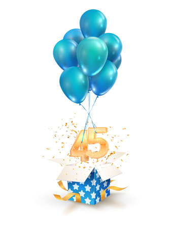 45th years celebrations. Greetings of forty five anniversary isolated vector design elements. Open textured gift box with numbers and flying on balloons