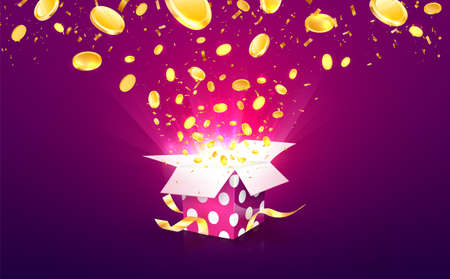 Winning money vector illustration. Casino online betting win. Gambling background. Gift box with coins explosion out