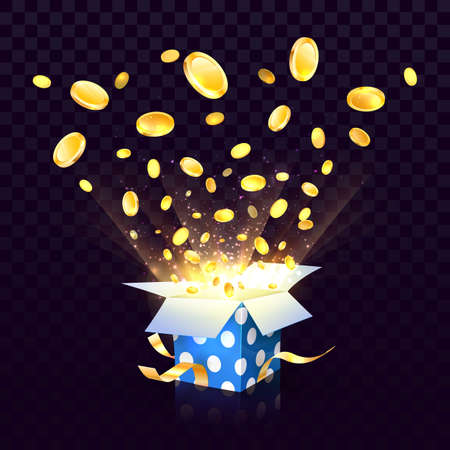 Isolated vector open textured gift box with coins explosion out on the transparent background. Big win of wealth design elements Illustration