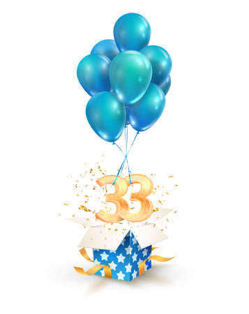 33th years celebrations. Greetings of thirty three birthday isolated vector design elements. Open textured gift box with numbers and flying on balloons