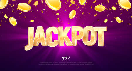 Jackpot golden 3d word on falling down confetti background. Winning vector illustration. Advertising of prize in gamble games on purple background