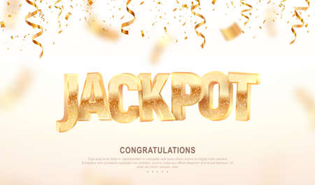 Jackpot golden 3d word on falling down confetti background. Winning vector illustration. Advertising of prize in gamble games on white background