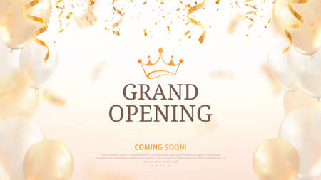 Grand opening vector illustration template. Celebration light background with balloons and confetti