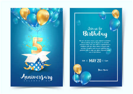 Celebration of 5 th years birthday vector invitation cards. Fifth years anniversary celebration. Print templates of invitational on blue background 矢量图像