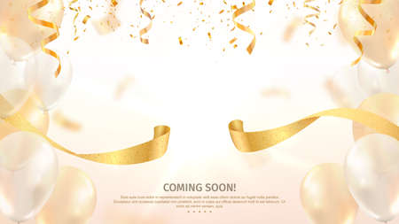Grand opening vector banner. Celebration of open coming soon light background with gold ribbon and confetti and balloons 矢量图像