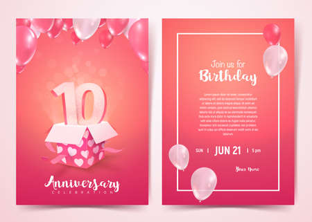 Celebration of 10 th years birthday vector invitation cards . Ten years anniversary celebration front and back side card. Print templates of invitational on pink background 矢量图像