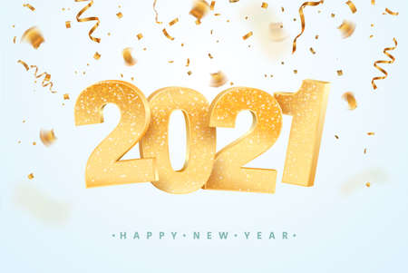 Happy new year 2021 celebrating vector illustration. Merry Christmas holiday background with falling confetti Illustration