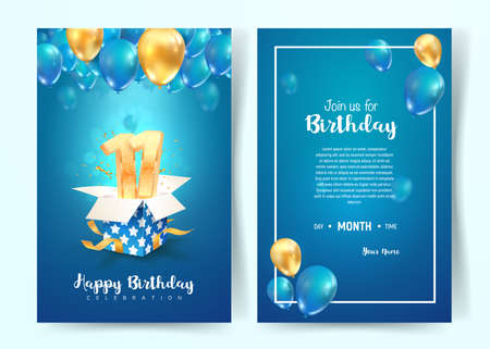 Celebration of 11th years birthday vector invitation card. Eleven years anniversary celebration brochure. Template of invitational for print on blue background