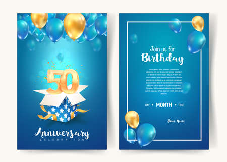 Celebration of 50 th years birthday vector invitation card. Fifty years anniversary celebration brochure. Template of invitational for print on blue background Illustration