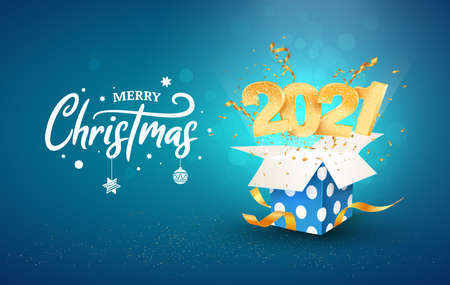 2021 Happy New Year vector illustration. Xmas celebrate on blue background. Merry Christmas celebration. Golden numbers fly out blue gift box Illustration