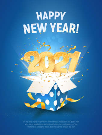 2021 Happy New Year vector illustration. Xmas celebrate A4 card on blue background. Merry Christmas celebration. Golden numbers fly out blue gift box Illustration