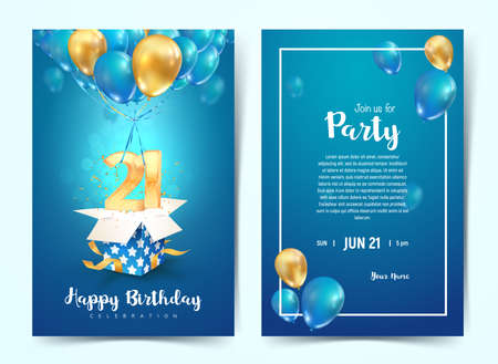Celebration of 21 th years birthday vector invitation card. Twenty one years anniversary celebration brochure. Template of invitational for print on blue background