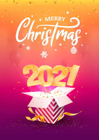 2021 Happy New Year A4 card vector illustration. Xmas celebrate on purple background. Merry Christmas celebration. Golden numbers fly out blue gift box