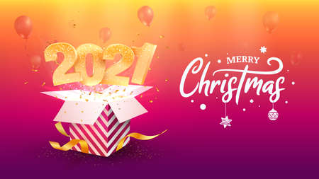 2021 Happy New Year vector illustration. Xmas celebrate on purple background. Merry Christmas celebration. Golden numbers fly out gift box